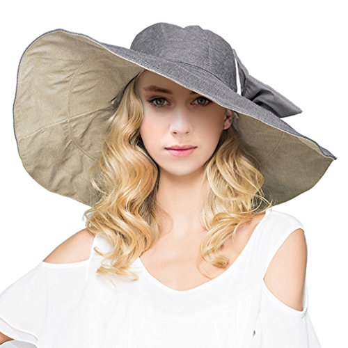 LRKC Women's Reversible Foldable Wide Brim Sun Hat with Bowknot UPF 50+,...