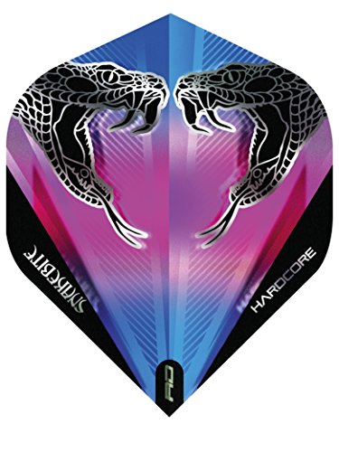 RED DRAGON Hardcore Peter Wright Snake Schwarz Transparent Dart Flights - 3 Sätze pro Packung (9 Flights insgesamt)