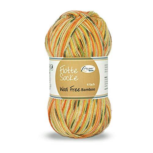 Rellana Flotte Socke Wool Free Bamboo 100 g Sockenwolle Vegan mit Bambus Sommersocken Stricken (1422 gelb-orange-grün)