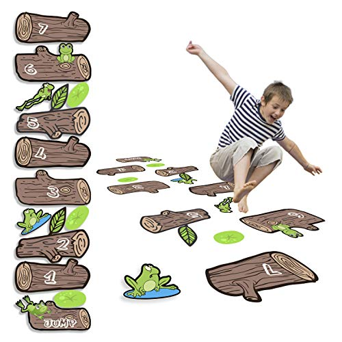 HK Studio Sensory Pathway Floor Decals | Montessori Gym | Frog Hopping Game on Wooden Logs Decals for Boosting Gross Motor Skills | Sensory Play Game