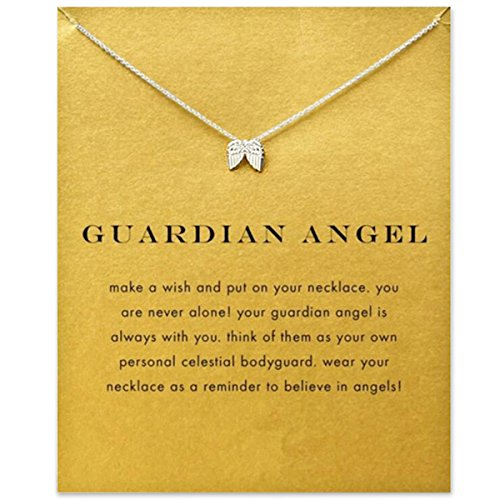 ODN Women Girls Sterling Silver Choker Necklace Pendant Collar Chain Jewelry Accessories Gift Wing