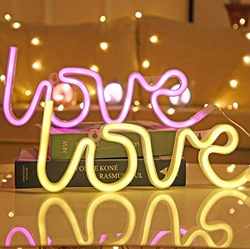 lilypin® LED Neon Light Sign Love Wedding Party Decoration Neon Lamp Valentines Day Anniversary Home Decor Night Lamp Gift kw22 (Warm White)