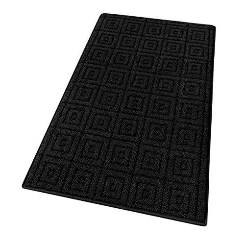 tappeto cucina nero moderno emmevi Tappeto Cucina 3D Antiscivolo Tinta Unita Elegente Lavabile Morbido Assorbente MOD.Evita 50X80 Nero