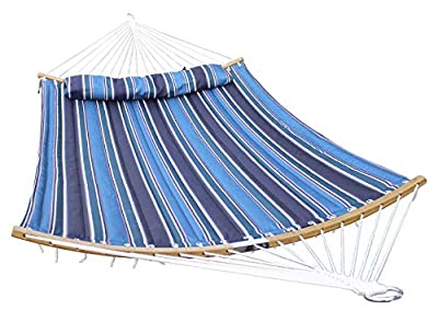 HENG FENG 2 Person Double Hammock Quilted Fabric with Detachable Pillow and Curved Bamboo Spreader Bars, Blue Stripe