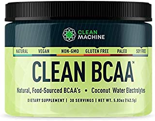 Clean BCAA - Natural Food Sourced BCAAs & Coconut Water Electrolytes - Award Winning Vegan Amino Acid Supplement - Unflavo...