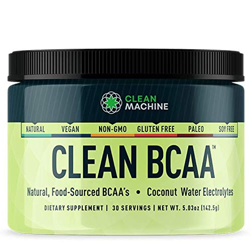 Clean BCAA - Natural Food Sourced BCAAs & Coconut Water Electrolytes - Award Winning Vegan Amino Acid Supplement - Unflavored - 143g