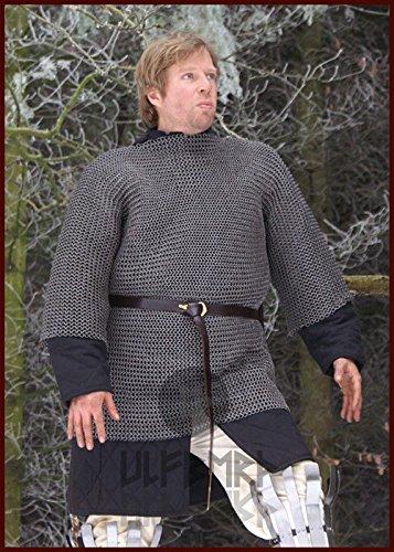 Larp Ulfberth Haubergeon-Cota de malla remachado doble y estampado, ID 6mm Medieval Vikingo Tallas M-XXL, gris, xx-large