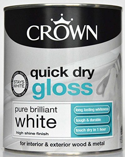 Crown Quick Dry Gloss 750ml Pure Brilliant White (358142) by Crown