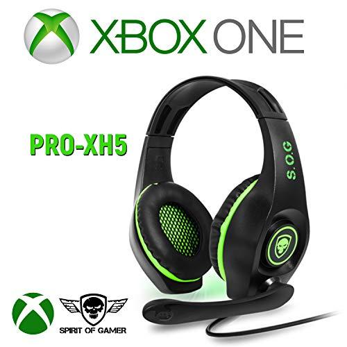 SPIRIT OF GAMER - Casque Micro Pro-XH5 pour Xbox X/Xbox One/Son Stereo 2.0 / HP 40 mm avec Coussinets Rembourrés/Arceau Ajustable