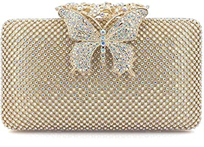 Dexmay Rhinestone Crystal Clutch Purse Butterfly Clasp Women Evening Bag for Formal Party