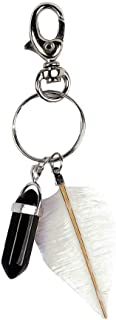 NATFUR Fashion Women Ladies Bag Purse Hanger Keyring Natural Stone Point Bullet for Women Perfect for Girls for Gift Novelty Beautiful Lovely Goodly | Color - 1