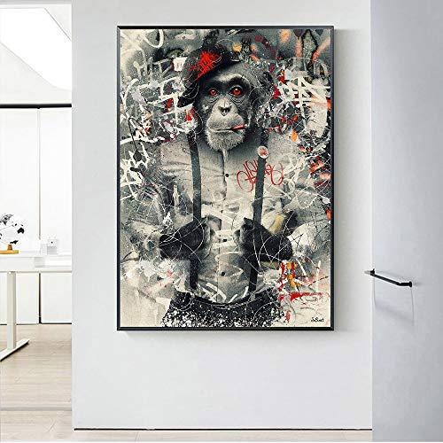 KWzEQ Leinwanddrucke Anzug Gekritzel AFFE Wandkunst Bild Wohnkultur für Wohnzimmer Poster50x75cmRahmenlose Malerei