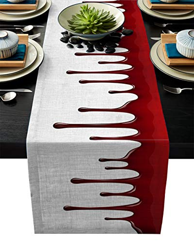 ABCrazy Dining Table Runner 16 x 72inch, Halloween Bloodstain Decor Durable Table Covers Decoration for Family Dinner Kitchen Patios Coffee Table Everyday Use Tablecovers Red
