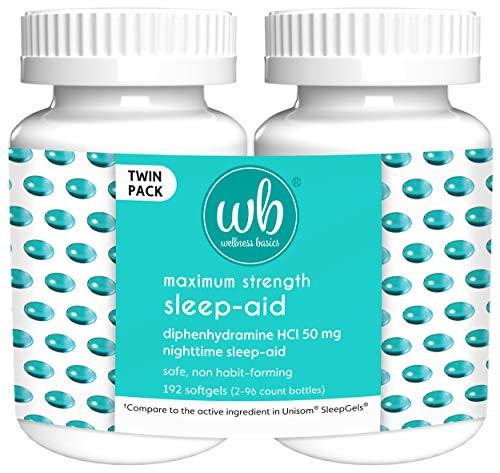 Wellness Basics Maximum Strength Sleep-Aid Diphenhydramine Softgel...