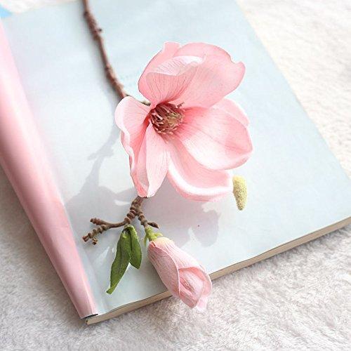 VWTTV einzigen Zweig Magnolie künstliche Blume Kunstblume Kunstblume Blatt Magnolie Blume Hochzeitsstrauß Partei Hauptdekoration