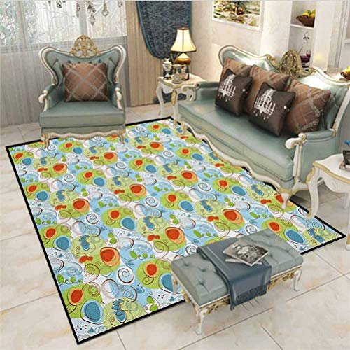 Funky Kids Play Mats Christmas Thanksgiving Holiday Decor Rug Whimsical Fun Pattern with Random Swirls Spirals Color Spots and Little Heart Shapes for Living Room Bedroom Nursery Dining Room Multicolo