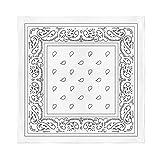 4 Pack X-Large Paisley Cotton Printed Bandana - 27 x 27 inches (White)