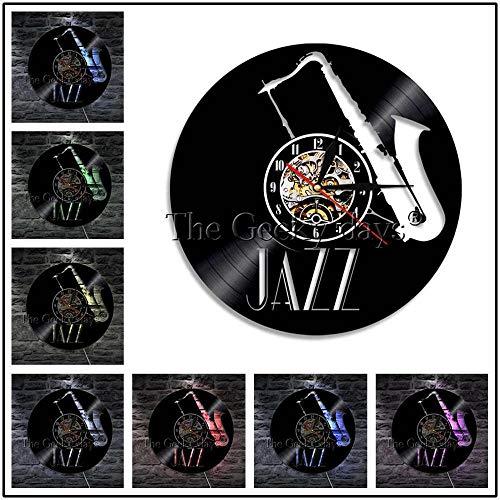 TPYFEI 1 Stück Jazzmusiker Schallplatte Wanduhr Cello Trompete klassisches Musikinstrument LED Nachtlicht für Jazzliebhaber Geschenk-rot_12 Zoll mit LED