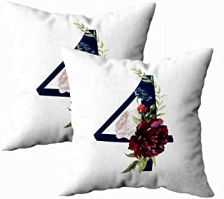 Musesh Pack of 2 Home Pillow Cases,Winter Floral Numbers Navy with Flowers Bouquet Composition Unique Collection Wedding Decoration and Many Other Concept Ideas for Sofa Pillowcase 18X18Inch