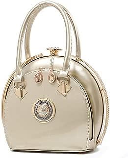 Vioaplem Women's Fashion Sparkly PU Leather Mini Clutch Bag Wristlet Evening Handbag Catching Purse Bag for Wedding Party (Color : Golden)