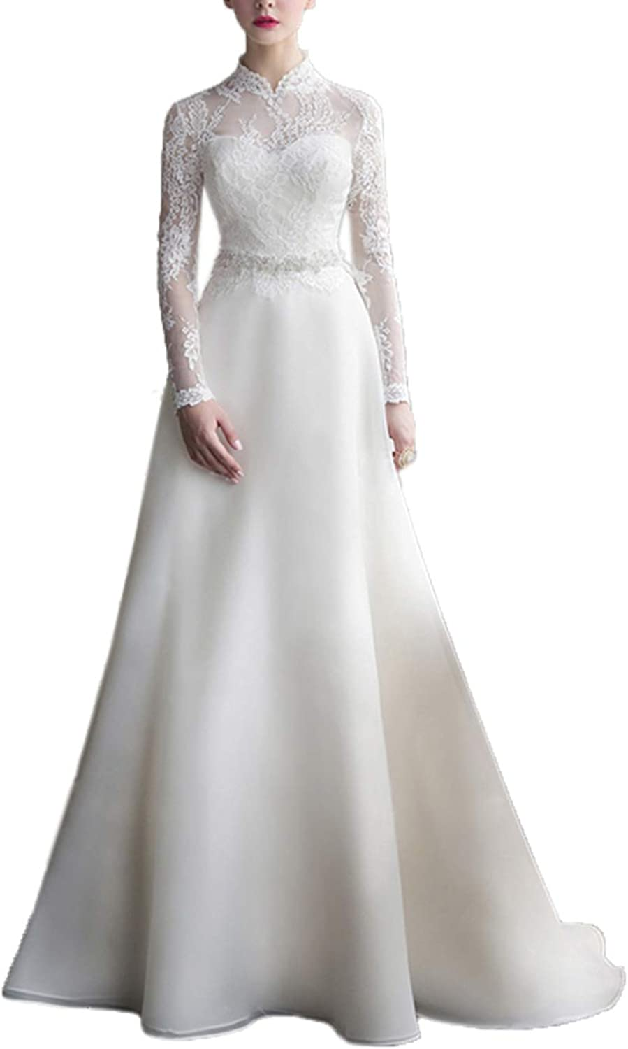Quintion Norris High Neck Lace Aline Wedding Dress Long Sleeve Bride Gown