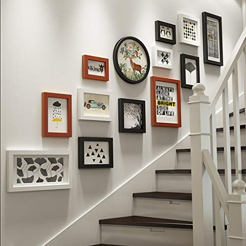 Combinaison de Bois Massif Escaliers Créatif Fond Photo Décoration Murale Cadre Photo Collage 13 Cadre Photo (Couleur : Brown)