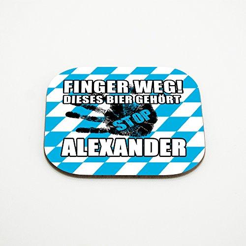 Untersetzer für Gläser mit Namen Alexander und schönem Motiv - Finger weg! Dieses Bier gehört Alexander