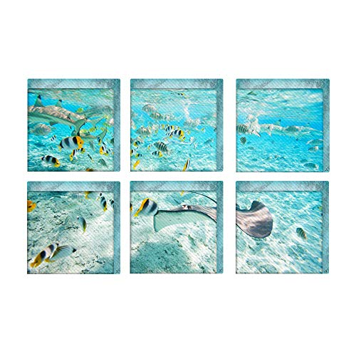 LINRUS 6 Stück rutschfeste wasserdichte Selbstklebende Wannenaufkleber, 3D-Badewannenaufkleber für Die Dusche, The Underwater World Wall Sticker Floor