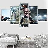 wangdazhuang 5 Paneles Cuadros Modernos Baratos Cuadro Salon Oliver Sykes - Persona Famosa Cuadro En Lienzo Decoración del Hogar Enmarcada Art-150X80Cm