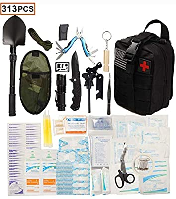 WildmanSurvival 313 pcs. Survival First Aid Kit IFAK Molle System Compatible Outdoor Gear Emergency Kits Trauma Bag for Camping Hunting Hiking Home Boat Car Earthquake and Adventures (black)