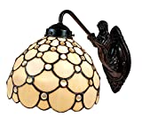 Amora Lighting Tiffany Style Lamp White Jeweled Mermaid Arch 1 Light Stained Glass Wall Fixture Vintage Antique for Bedroom Living Room 8' Wide 10' Tall Gift AM110WL08B