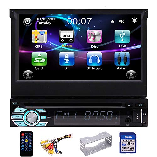 EINCAR Einzel Auto DVD Player 7Zoll GPS Navigations 1 Din Autoradio kapazitive Touch Screen Bluetooth Stereo Unterstützung Spiegel Link FM AM RDS SWC USB SD CAM-IN mit 8 GB Karte Card & Fernbedienung