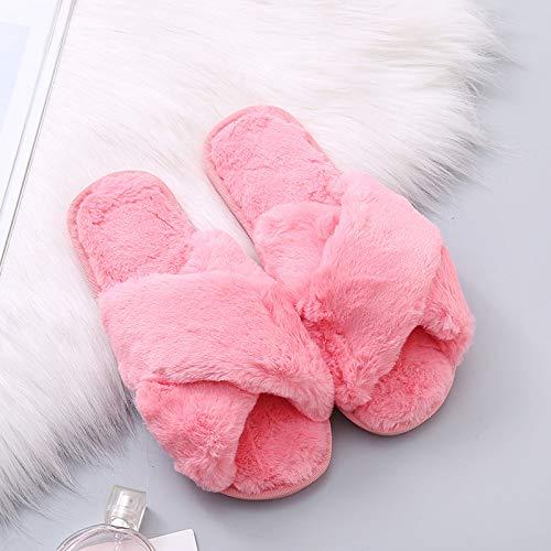 Qsy shoe Pantoufles en Daim d'automne et d'hiver, Couple Confortable, Bout Ouvert, chez soi, Rouge Melon d'eau, 41