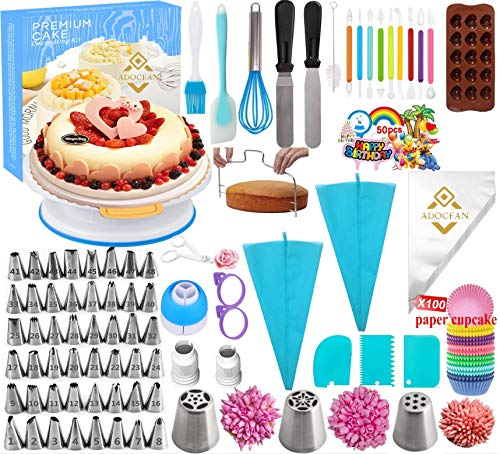 Cake Decorating Tools Kit Tools 290Pc,Baking Utensils Set and Bakery Supplies,Baking Accessories,Baking Set for Adults Cake,Baking Stuff,Cake Spinner Turntable,Baking Essentials For Beginners (290PC)