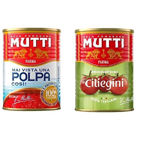 24x Mutti polpa di Pomodoro Tomatenpulpe Tomaten sauce 100% Italienisch 400g + 24x Mutti Pomodorini ciliegini Kirschtomaten dosen 400g