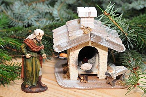 Krippenbeleuchtung Krippendeko - Backofen, Brotbackofen + Bäcker, Backhaus Holzbackofen mit LED + LED + Krippenlaterne, ÖLBAUM Original-Krippenbeleuchtung für Weihnachtskrippe, historische Ausführu