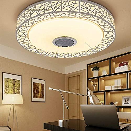 Luz moderna Lámpara de techo LED, 36 W, con altavoz Bluetooth, control por aplicación, 2500-3000 lúmenes, diámetro de 50 cm, regulable, para salón, habitación de los niños, dormitorio (blanco)