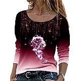 LYAZFC Camiseta de Manga Larga con gradiente de Gran tamaño Multicolor Casual de otoño para Mujer