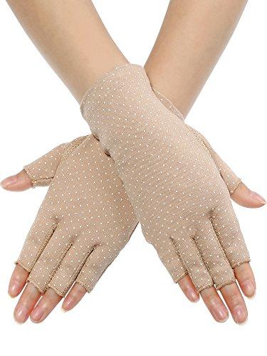 Maxdot Sunblock Fingerless Gloves Non-slip UV Protection Driving Gloves Summer Outdoor Gloves for Women and Girls (Khaki)