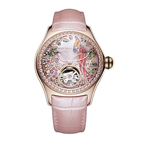 REEF TIGER Damen Uhr analog Automatik mit Leder Armband ORGA7105-PPPD