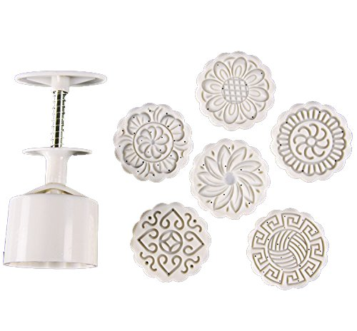 Zicome Round Moon Cake Mold with 6 Stamps, Flowers Design, White