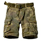 AKARMY Men's Camo Cargo Shorts Outdoor Multi-Pocket Cotton Casual Shorts 8062 C34 Retro Camo Thin 32