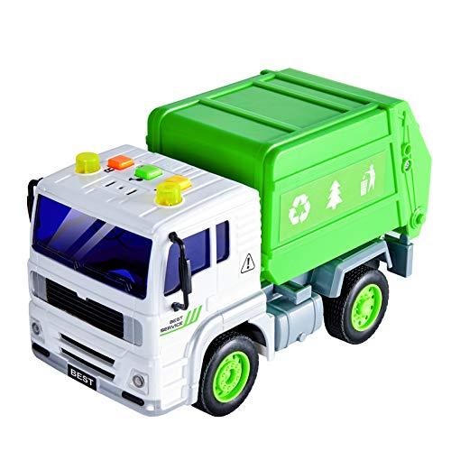 HERSITY Camión de Basura Coches de Friccion con Luces y Sonidos Vehiculos Juguete Regalos para Niños 3 4 5 Años