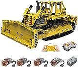 MOMAMO Tecnología Bulldozer Tecnología Bulldozer a Control Remoto, Mold King 17024, 1003 Partes 2.4G 4CH 1:20 Tecnología Bulldozer motorizado con Kit de Motores Compatible con Lego