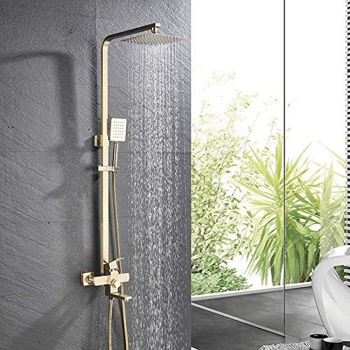 Gnailur Grifo mezclador de ducha de ducha de ducha de ducha de lujo con 8 pulgadas de latón cabezal de ducha montado en la pared ducha de ducha grifo de agua