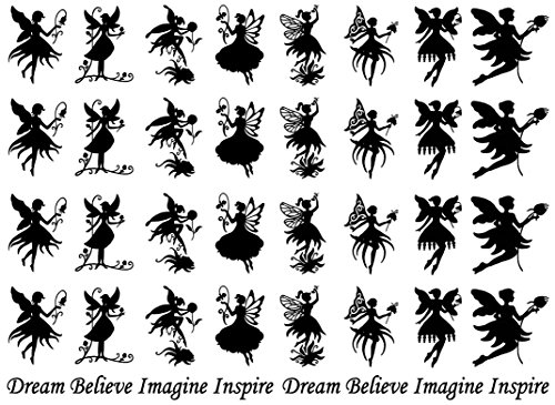 Flower Fairies Black 16CC737 Fused Glass Decals