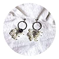 キラキライヤリング 真珠 イヤリング レディース金メッキ円形ファッションシンプルな 耳 ジュエリー,シルバー (シルバー 925針)