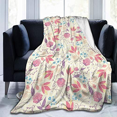 Manta mullida, fresca primavera campo, plantas de jardinería, flores de tulipán, flores de peonía, ramitas, ultra suave, manta para dormitorio, cama, TV, manta para cama de 127 x 101 cm