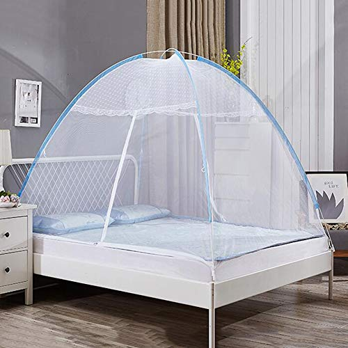 YONG Moskitonetz Bett, Faltbares Bett-Moskitonetz, Einzeltür-Moskito-Campingvorhang für Bett Camping Travel Home Home im Freien 190 * 150cm - Blau Rand