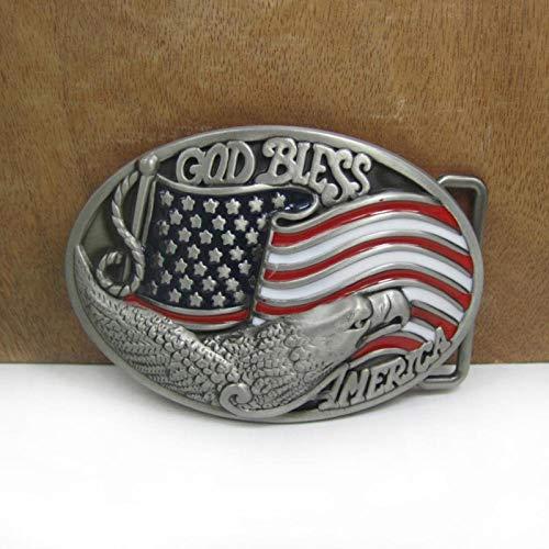 MAODA God Bless America Boucle De Ceinture Aigle Drapeau Américain Jeans Cadeau Boucle De Ceinture Étain Finition pour Hommes